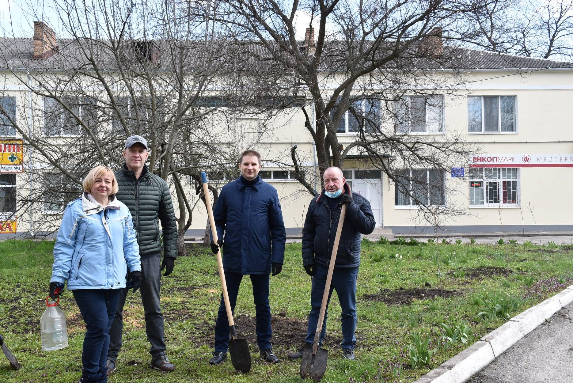 Біля одного із відділень центральної лікарні Кропивницького висадили алею сакур (ФОТО)