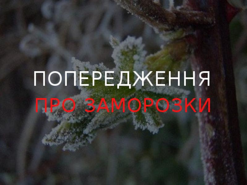 Жителів Кіровоградщини попереджають про заморозки